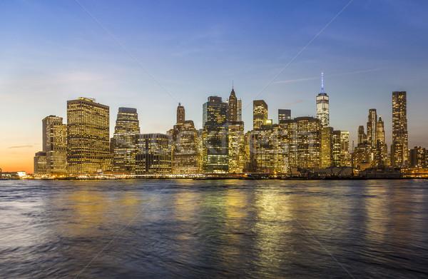 Manhattan gece New York ABD ofis Stok fotoğraf © meinzahn