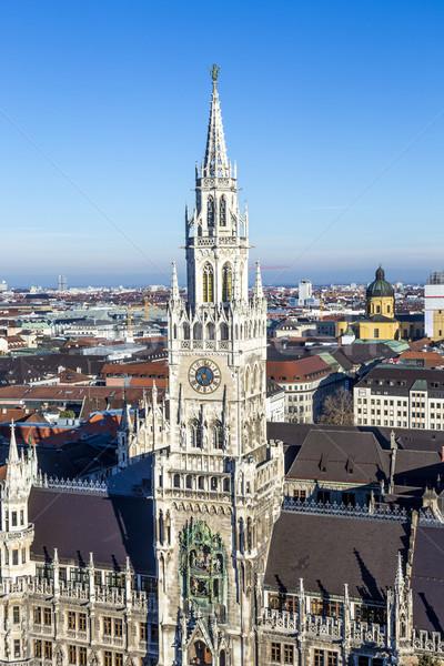 Fachada novo Munique cidade prefeitura blue sky Foto stock © meinzahn
