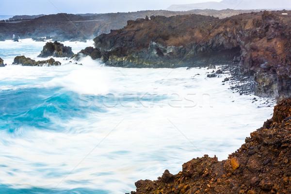побережье огромный волны пляж небе пейзаж Сток-фото © meinzahn