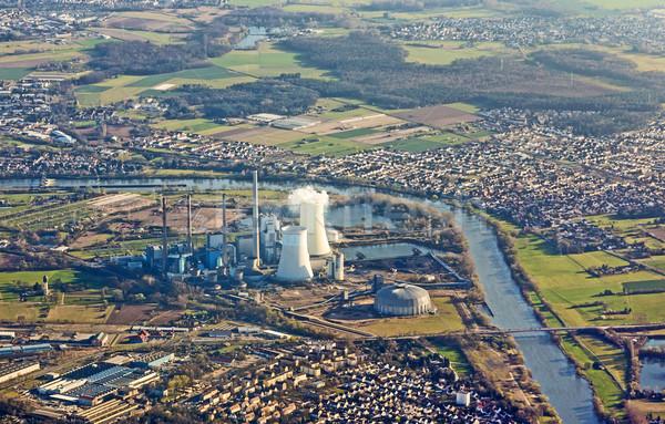 Elektromos erőmű fő- folyó légi Németország hajó Stock fotó © meinzahn