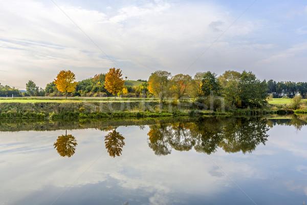 Stock fotó: Tükröződés · fák · folyó · víz · természet · tájkép
