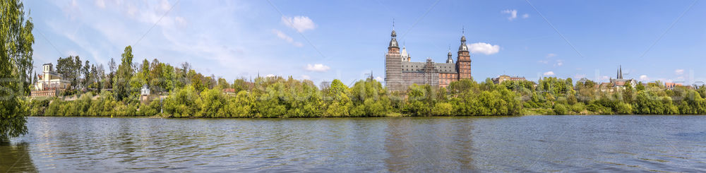 skyline of old aschaffenburg castle with river Main and Pompejan Stock photo © meinzahn