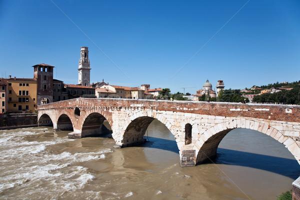 the old roman bridge in Verona  spans the river Etsch Stock photo © meinzahn