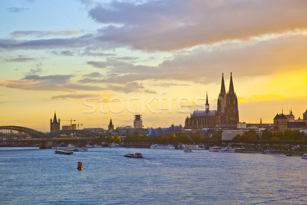 sunset in cologne with Dome and river Rhine Stock photo © meinzahn