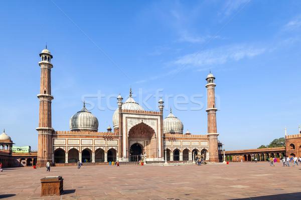 Mosquée vieux Delhi Inde célèbre ciel Photo stock © meinzahn