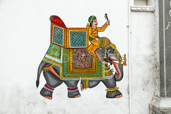 wall painting in Udaipur at a local house  Stock photo © meinzahn