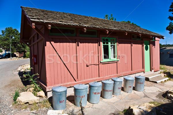 Bois maison cases étain par jour de la semaine Photo stock © meinzahn