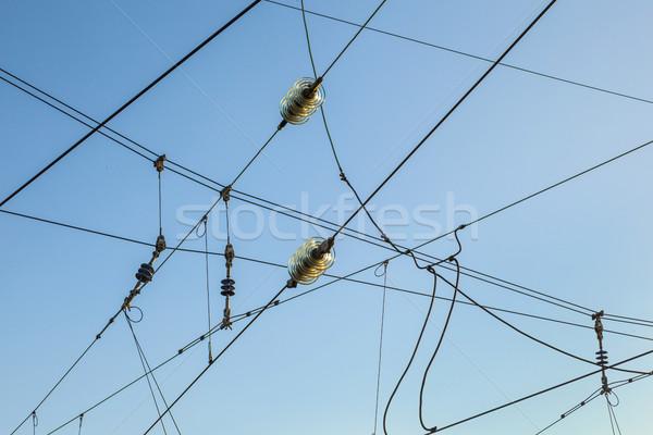 Railroad overhead lines against clear blue sky  Stock photo © meinzahn
