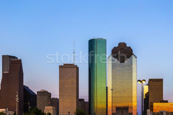 Görmek şehir merkezinde Houston geç öğleden sonra gökdelen Stok fotoğraf © meinzahn