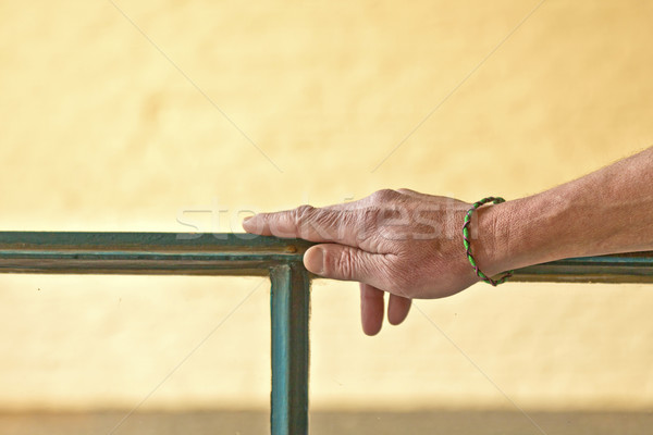 hand with bracelet leaning on a window frame Stock photo © meinzahn