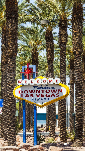 Belváros Las Vegas üdvözlet felirat fa város Stock fotó © meinzahn