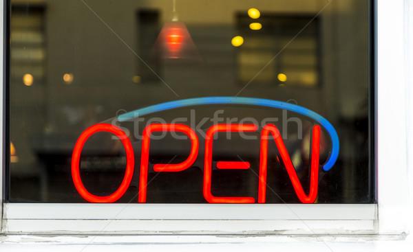 Ouvrir enseigne au néon lune vert bar bleu Photo stock © meinzahn
