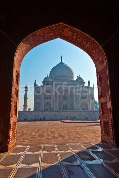 Taj Mahal Inde rétroéclairage arc mosquée très tôt Photo stock © meinzahn