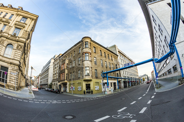 typical old buildings in Berlin Mitte with blue water pipelines Stock photo © meinzahn