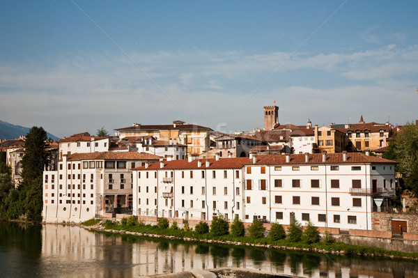 Stock photo: view of the romantic village Basano del Grappa over the river Br