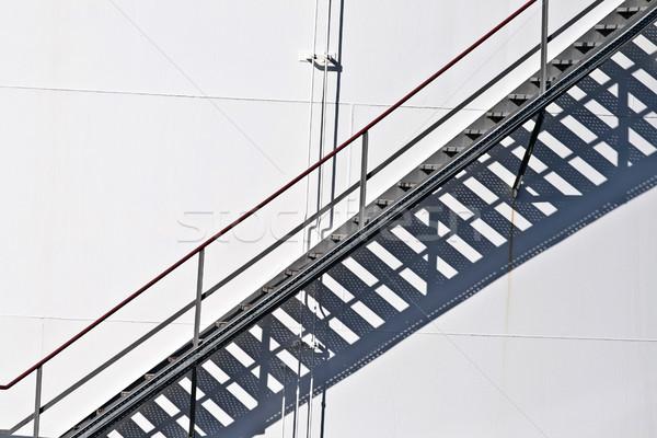 ストックフォト: 白 · タンク · ファーム · 階段 · 鉄 · 背景