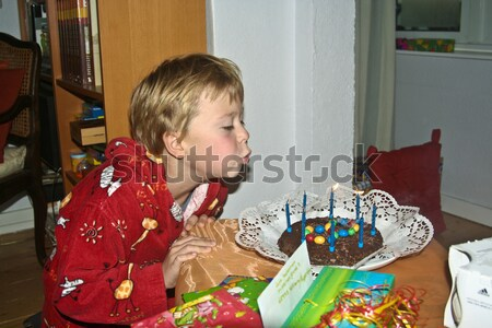 boy blowing out his birthday candles at the cake Stock photo © meinzahn