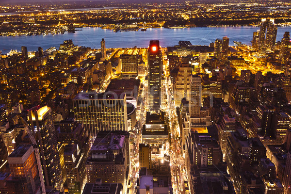 Нью-Йорк ночь Эмпайр-стейт-билдинг дома здании свет Сток-фото © meinzahn