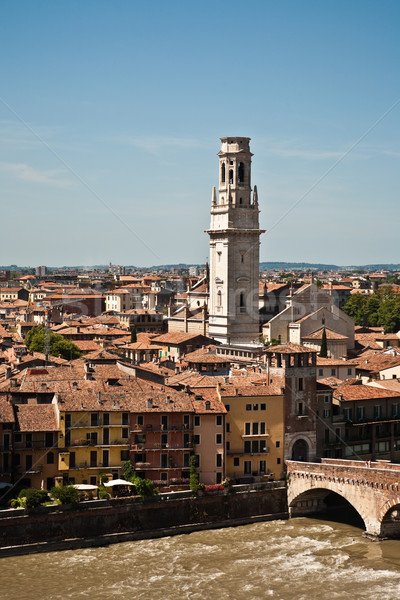 Verona panoramic view from the hill over the medieval city with  Stock photo © meinzahn