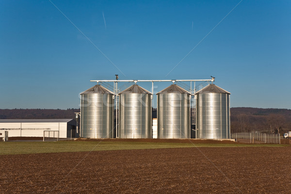 beautiful landscape with silo and field with blue sky Stock photo © meinzahn