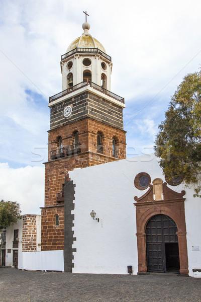 Stockfoto: Kanarie · eiland · kerk · hemel · wolken · kruis