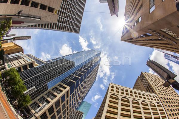Görmek modern gökdelen şehir merkezinde Houston mavi gökyüzü Stok fotoğraf © meinzahn