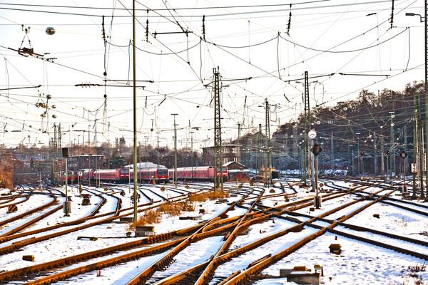 ストックフォト: 冬 · 駅 · 雲 · 金属 · 木 · 旅行