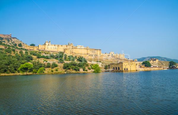 ámbar fuerte cielo azul panorámica antigua India Foto stock © meinzahn
