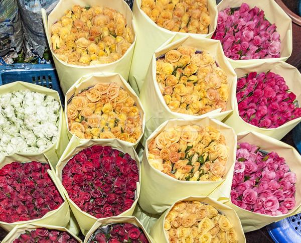 Güller çiçek pazar Bangkok renkli Stok fotoğraf © meinzahn