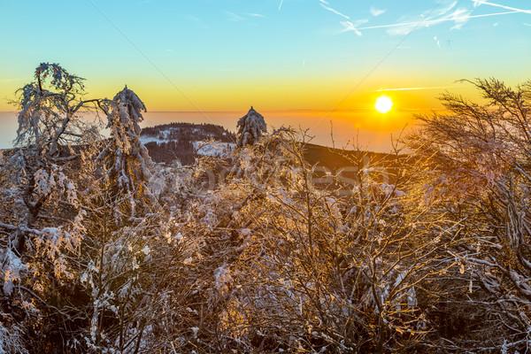 sunrise under the winter calm mountain landscape with beautiful  Stock photo © meinzahn