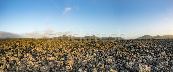 panorama of volcanic landscape in Timanfaya national park , Lanz Stock photo © meinzahn