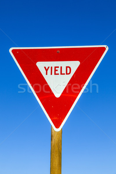 yield Sign at the highway with blue sky Stock photo © meinzahn