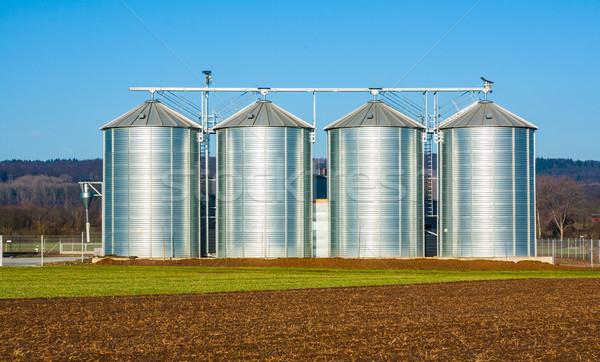 silver silo in rural landscape Stock photo © meinzahn