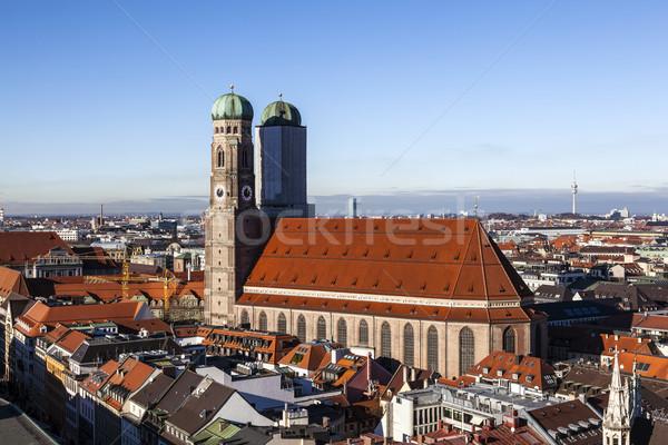 Berühmt München Kathedrale Himmel Stadt blau Stock foto © meinzahn