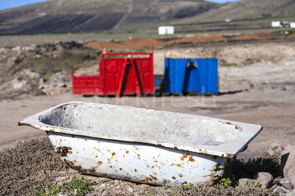 two containers in red and blue in volcanic landscape  with bath  Stock photo © meinzahn
