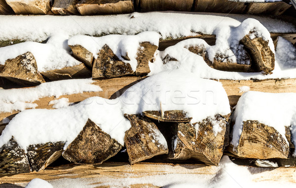 pile of chopped wood stacked in  winter Stock photo © meinzahn