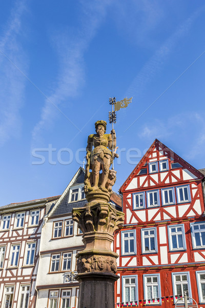 historic market place with statue in Butzbach Stock photo © meinzahn