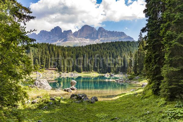 Karersee lake at Dolomites in Latemar Stock photo © meinzahn