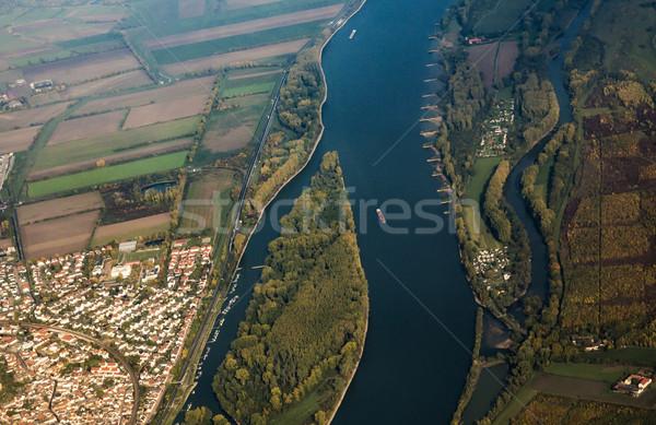 aerial of ships on river rhine near Mainz Stock photo © meinzahn