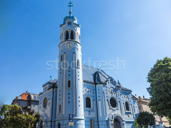 The main entrance of art-deco St. Elisabeth (Blue) church in Bra Stock photo © meinzahn