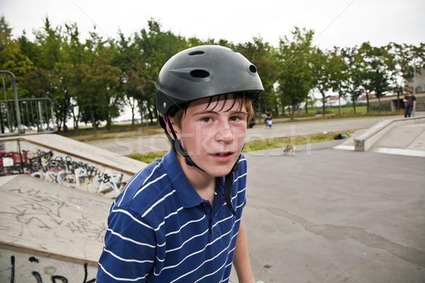 Jongen drop zweten gezicht fiets sport Stockfoto © meinzahn