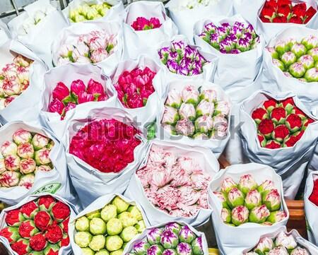 beautiful flowers at the flower market Stock photo © meinzahn