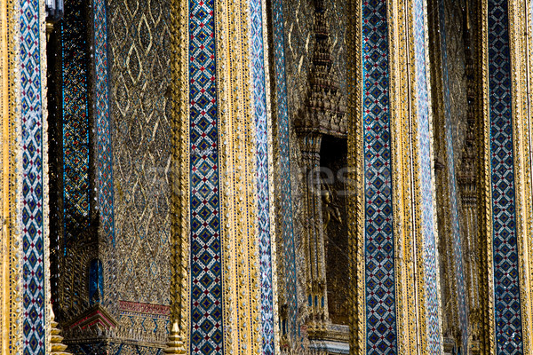 beautiful tempel with mosaik stones and plates in blue, golden a Stock photo © meinzahn
