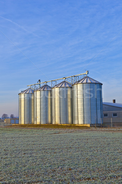 silos in the middle of a field in wintertime Stock photo © meinzahn