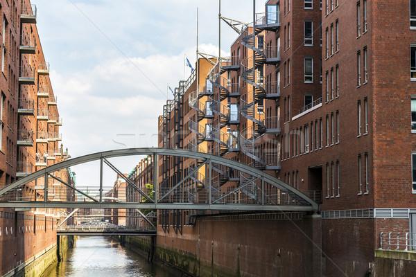 Hamburg Duitsland hemel zomer Blauw wolk Stockfoto © meinzahn
