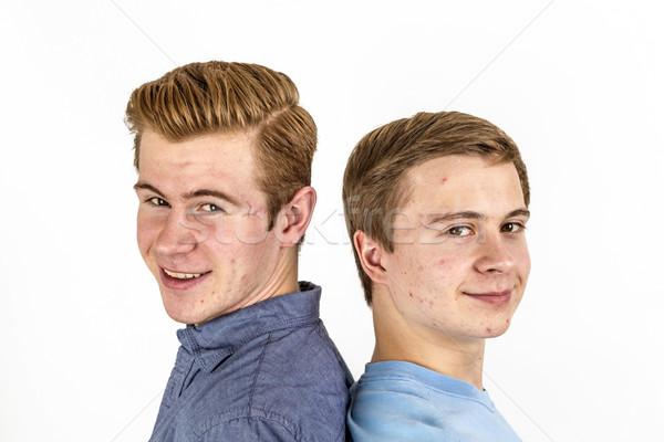 Retrato bonito irmãos posando estúdio cara Foto stock © meinzahn