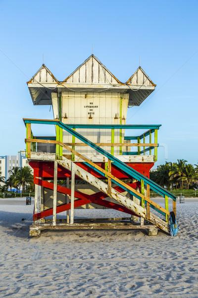 life guard tower on South Beach, Miami, Florida Stock photo © meinzahn