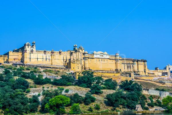 янтарь форт Blue Sky панорамный древних Индия Сток-фото © meinzahn