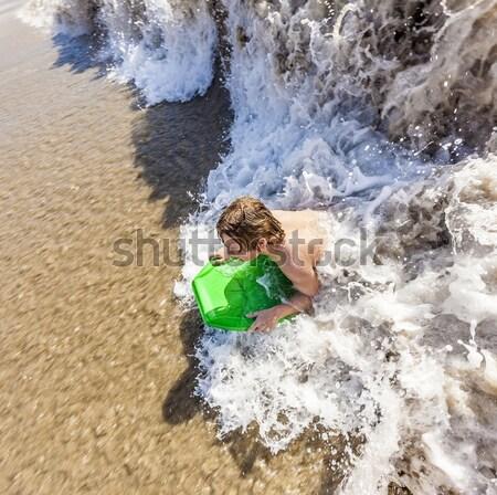 Broers leuk duiken oceaan gezicht kind Stockfoto © meinzahn