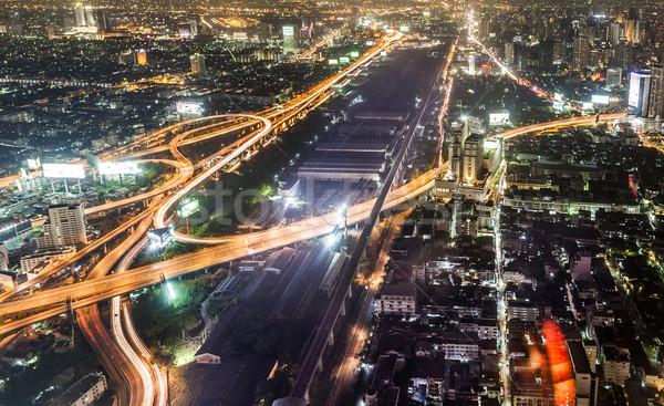 View across Bangkok skyline by night Stock photo © meinzahn